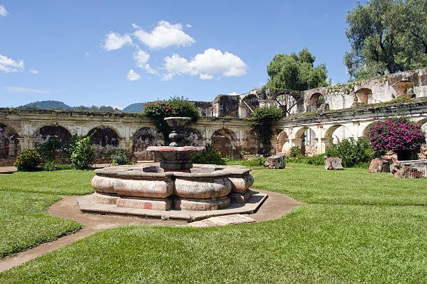 Santa Clara Convent Fountain Antigua,Guatemala stock photo