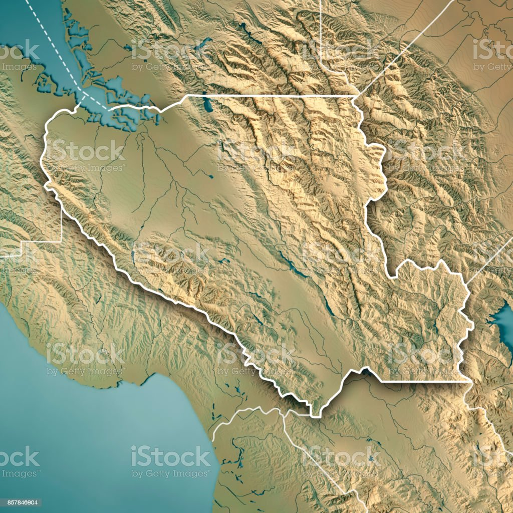 3d Topographic Map Of Usa.Santa Clara County California Usa 3d Render Topographic Map Border