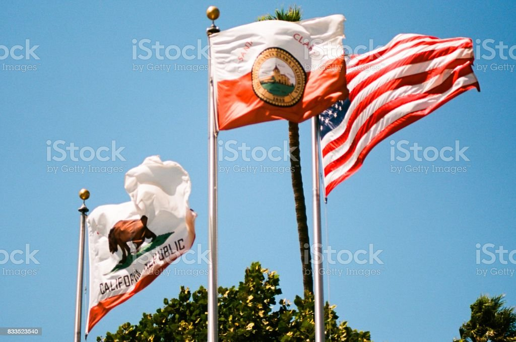 Santa Clara Flags stock photo