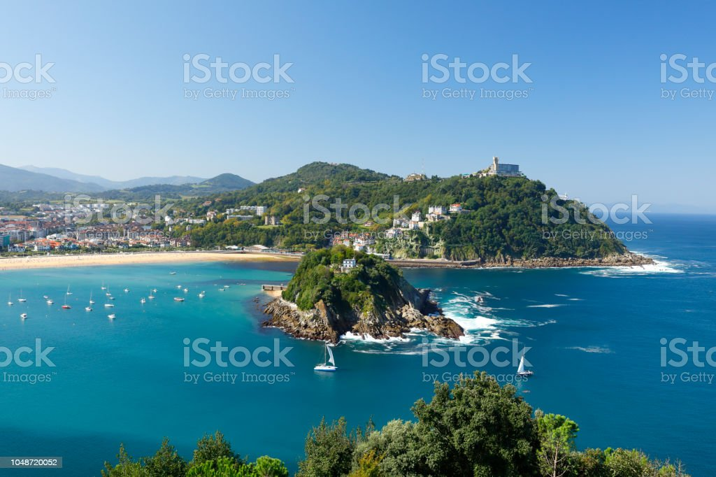 Santa Clara Island in the Bay of San Sebastian, Spain stock photo