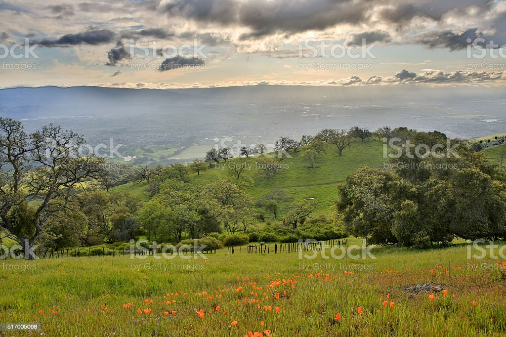 Santa Clara Valley from up above, Northern California stock photo