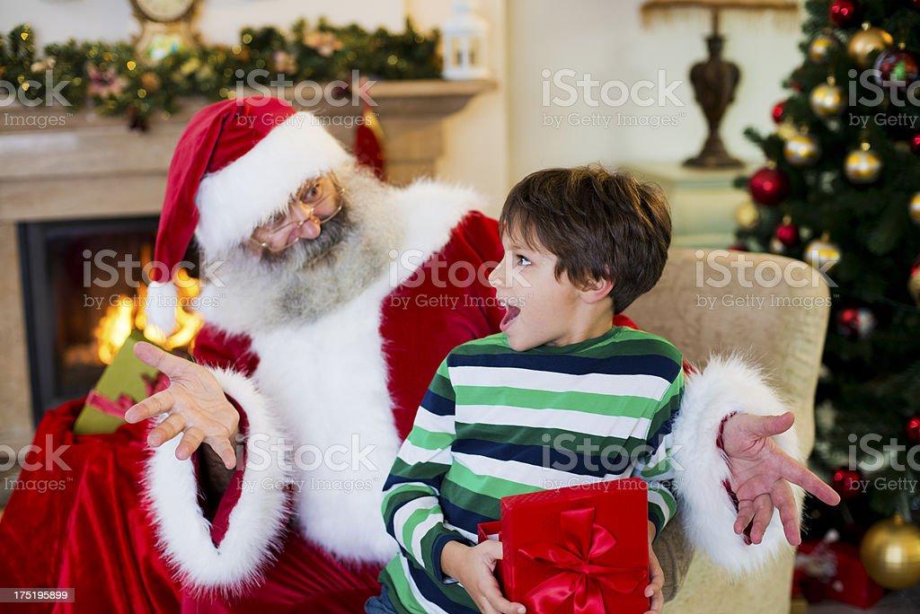 Santa Claus and boy royalty-free stock photo