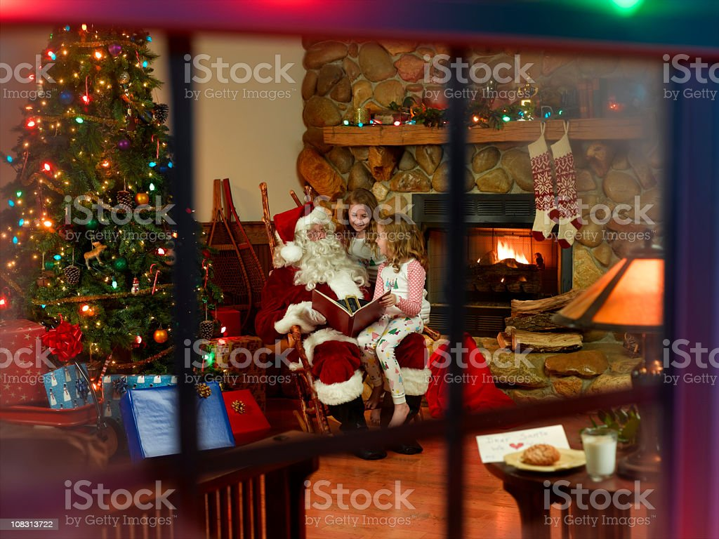 Santa Claus and Children stock photo