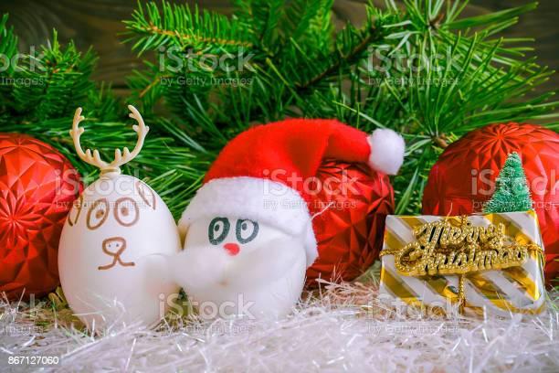 Santa claus and christmas deer on christmas unusual eggs with the picture id867127060?b=1&k=6&m=867127060&s=612x612&h=3i0ov49 y0 4zodmfshchc evz30efxlm3a6jjoj5kg=