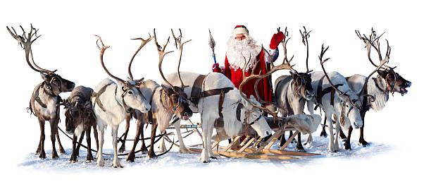 santa claus and his deer - rendier stockfoto's en -beelden
