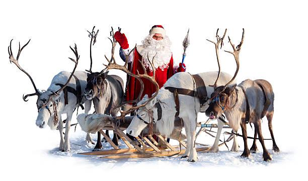 santa claus und seine deer - rentier stock-fotos und bilder