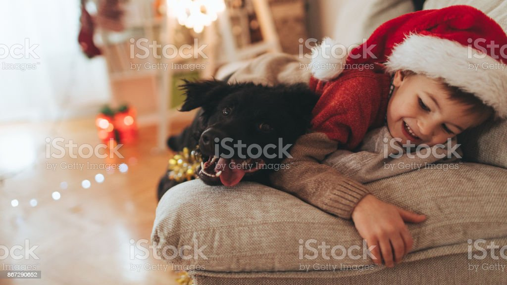 Santa Claus and his pet stock photo