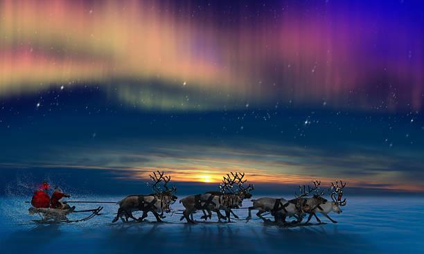 renos y santa claus su - reno mamífero fotografías e imágenes de stock