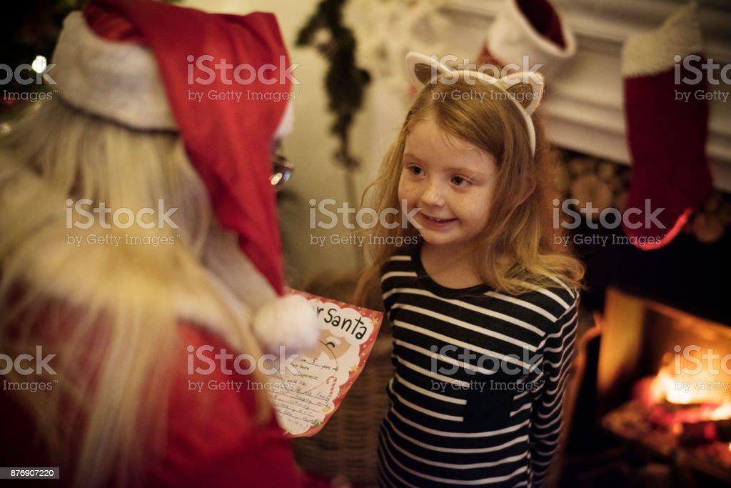 Santa claus and kid stock photo