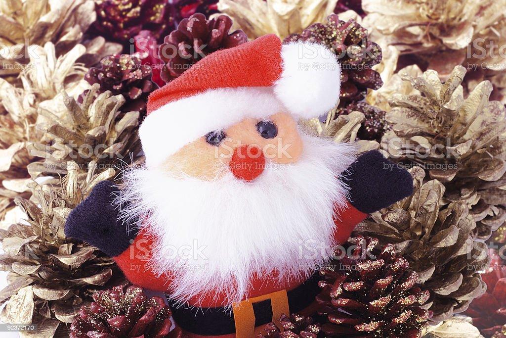 Santa Claus and pine cones royalty-free stock photo