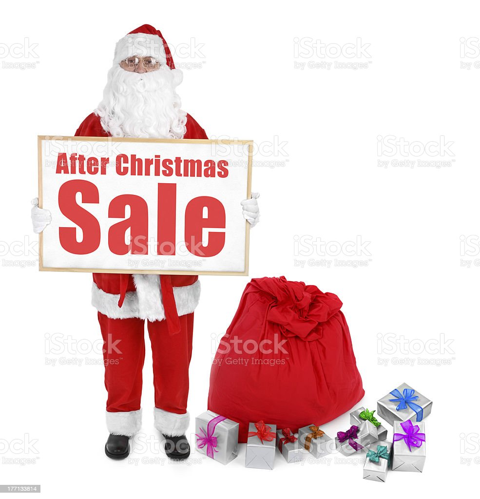 Santa claus and  with After Christmas Sale inscription royalty-free stock photo