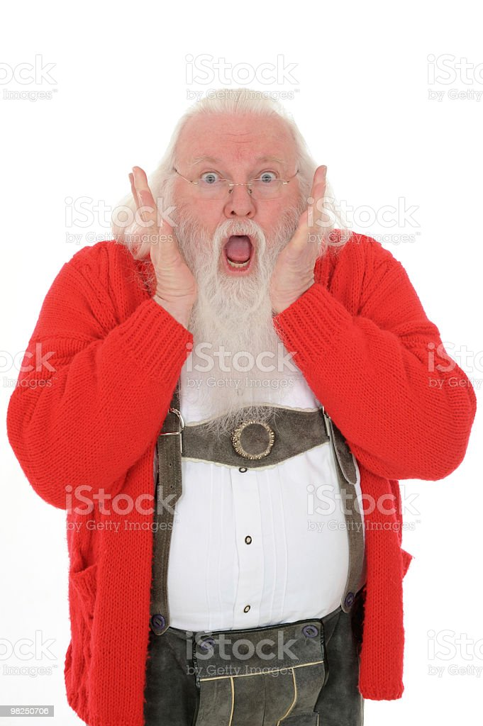 Santa Claus at Home Showing Surprise royalty-free stock photo
