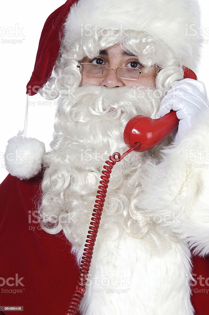 Santa Claus at the phone royalty-free stock photo