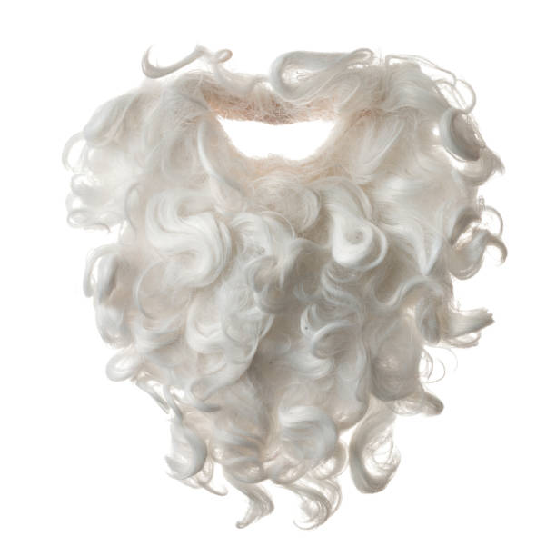 Santa Claus Beard And Mustache Hair On White Background stock photo