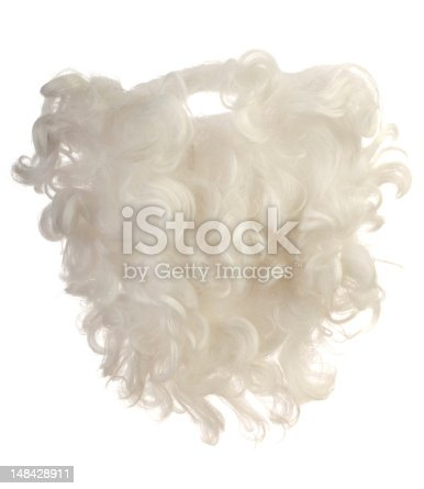 Handmade snow white Santa Claus hair and beard on white background