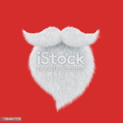 Santa Claus beard and mustache isolated on red. Christmas greeting card. 3D rendering