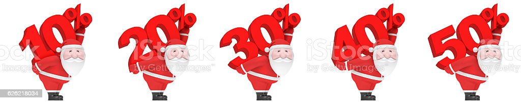 Santa Claus carry number and percent (set). Christmas sale season stock photo