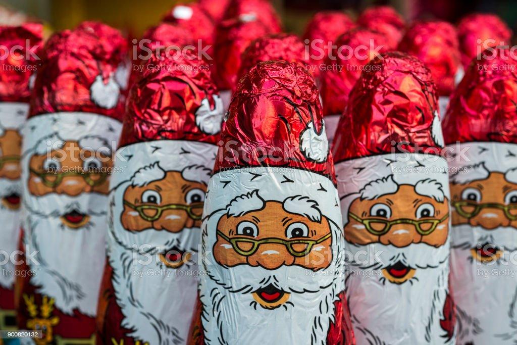 Santa Claus chocolate figure stock photo