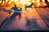 Santa Claus Christmas decoration on old wood - Reindeer Candle Jar Card