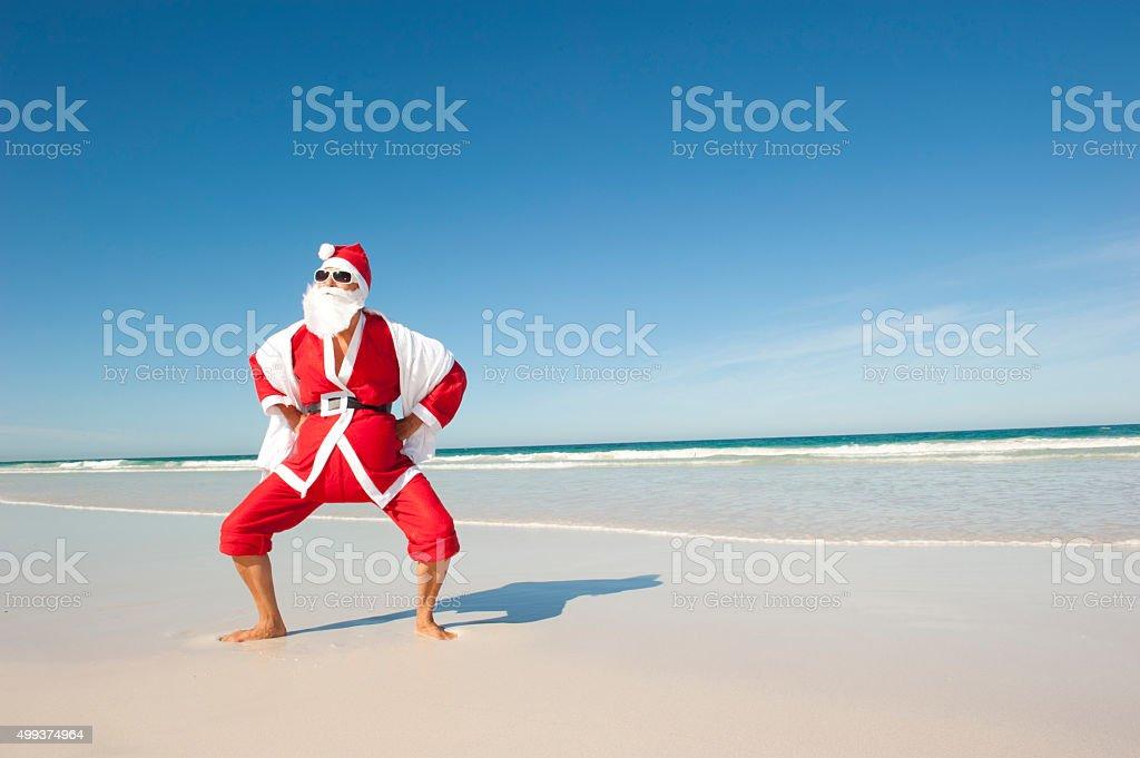 Santa Claus Christmas Holiday Beach IV stock photo
