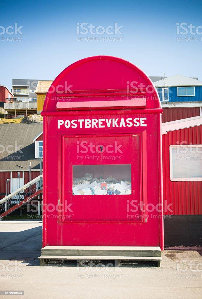 Christmas In Greenland.Santa Claus Christmas Mailbox Greenland North Pole Stock