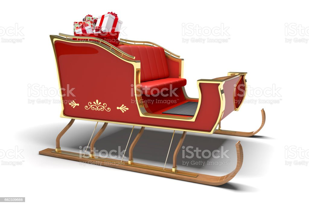 Santa Claus Christmas Sleigh Gifts White Background Stock Photo Download Image Now Istock