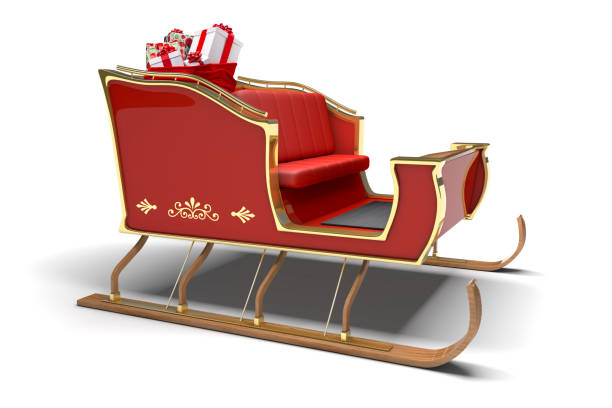 Santa Claus Christmas Sleigh Gifts White Background Santa Claus sleigh with sack full of Christmas gifts on a white background with clipping path. sled stock pictures, royalty-free photos & images