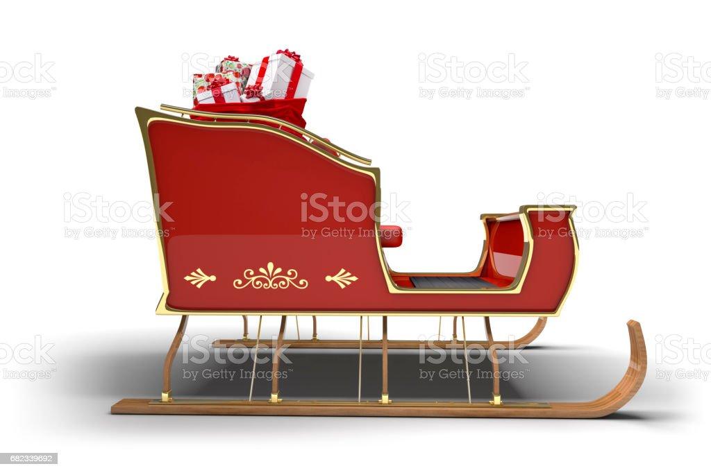Santa Claus Christmas Sleigh Gifts White Background stock photo