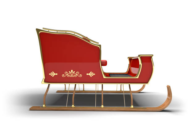Santa Claus Christmas Sleigh White Background Santa Claus sleigh on a white background with clipping path. sleigh stock pictures, royalty-free photos & images