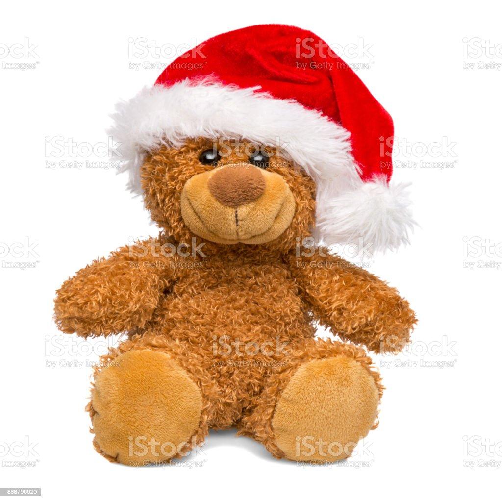 Santa Claus Christmas teddy bear isolated on white background stock photo