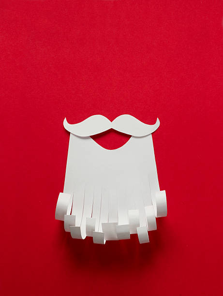 Santa Claus conceptual background Santa Claus Christmas conceptual paper background with copy space facial hair stock pictures, royalty-free photos & images