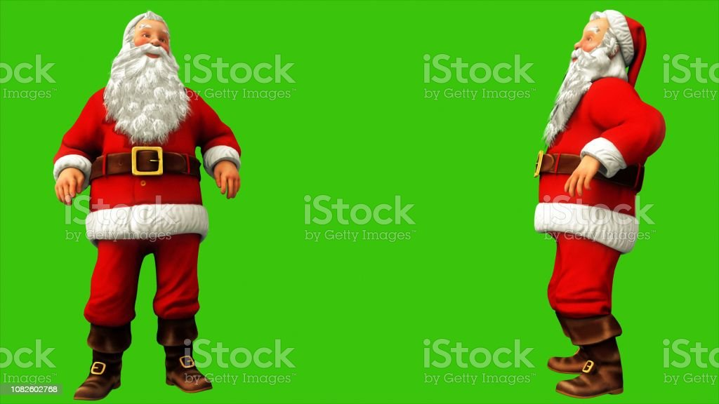 Santa Claus Dancing On Green Screen During Christmas 3d