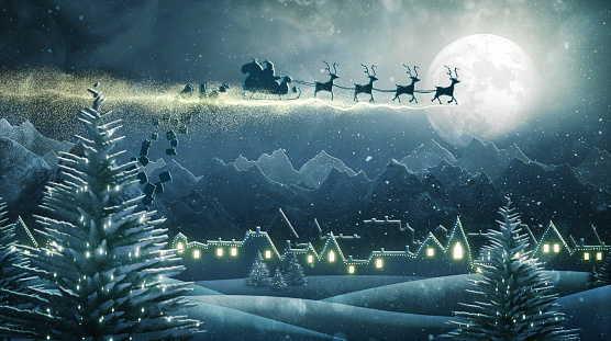 Digitally generated image of Santa's sleigh flying over a snow covered village and delivering Christmas presents.