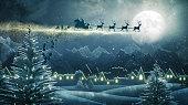 istock Santa Claus Delivering Christmas Presents At Night 1277120295