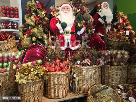 Buenos Aires, Argentina - October 27, 2018: Lots of christmas related items for sale at shopping mall prior to december 25th