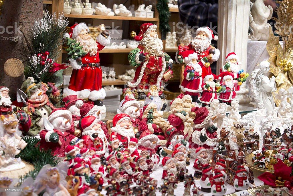 Santa Claus figures on Christmas market stock photo