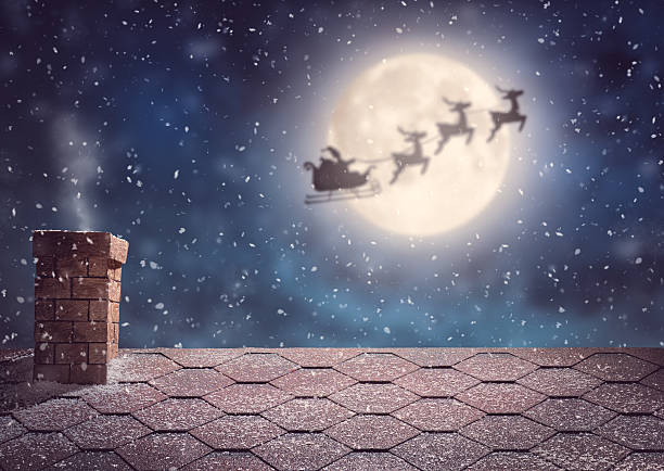 Santa Claus flying in his sleigh Merry Christmas and happy holidays! Santa Claus flying in his sleigh on background moon sky. Christmas story concept. sled stock pictures, royalty-free photos & images