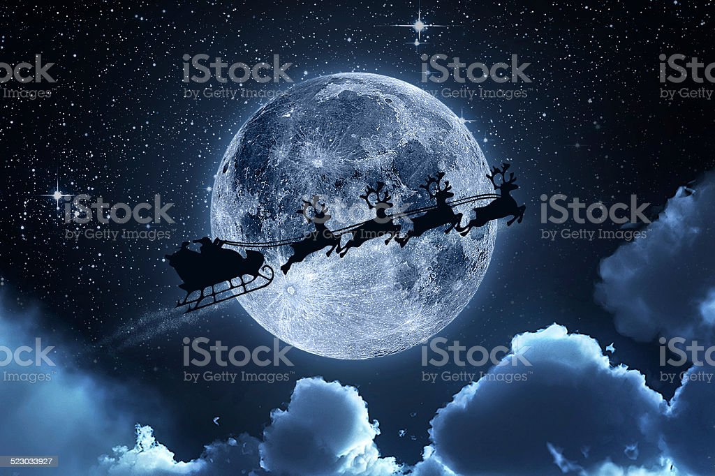 Santa Claus Flying On The Sky stock photo