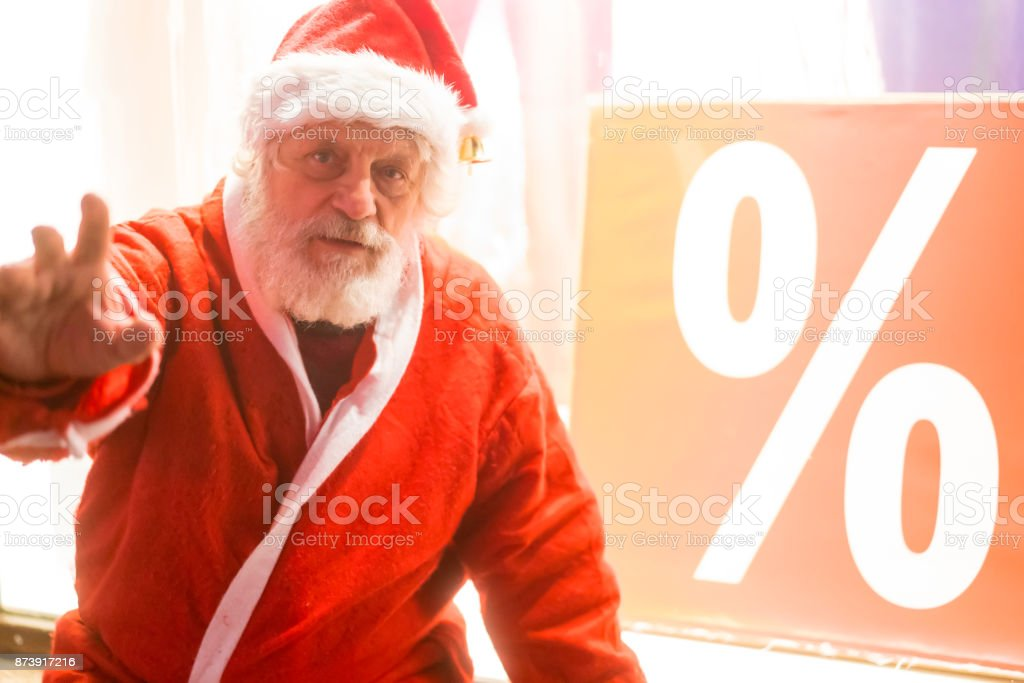 Santa Claus for good with discount in Ljubljana, Slovenia. stock photo