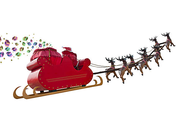 Santa Claus gifts are arriving Santa Claus delivering gifts around the world by riding a sleigh led by reindeers isolated on white backgound sleigh stock pictures, royalty-free photos & images