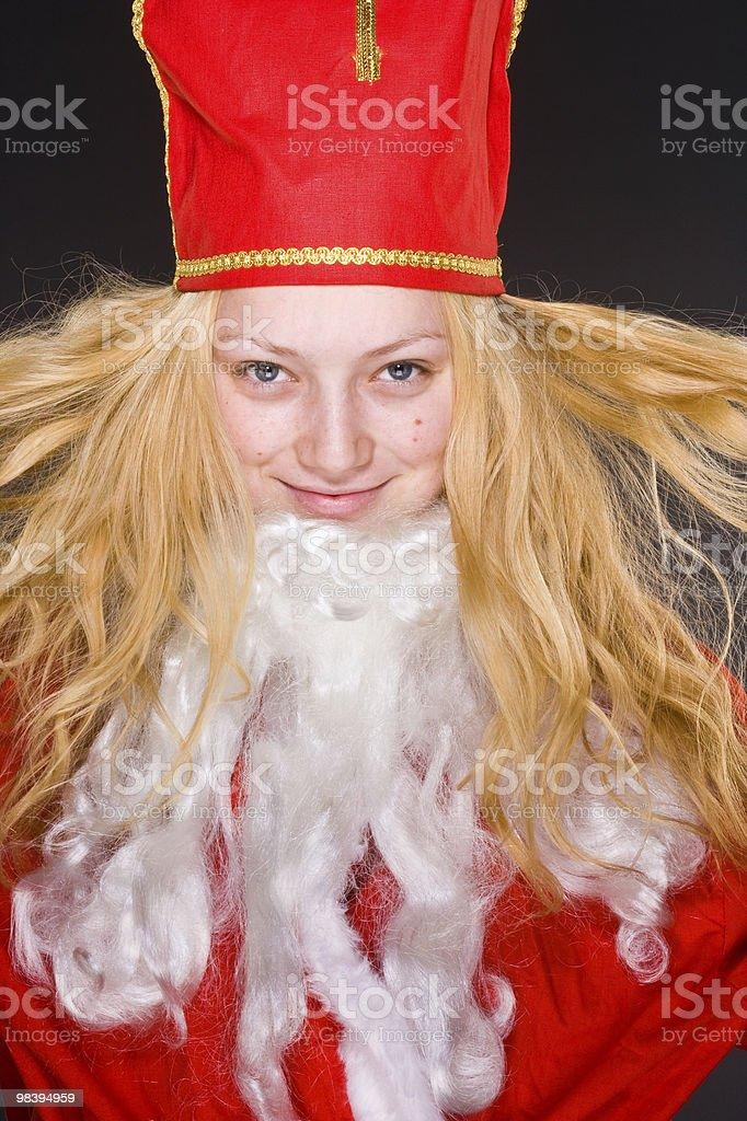 산따 클라우스 여자아이, beard royalty-free 스톡 사진