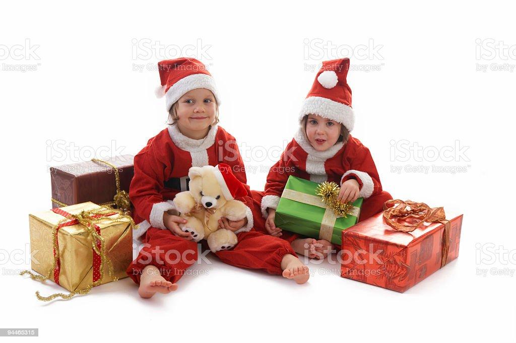 Santa Claus girls royalty-free stock photo