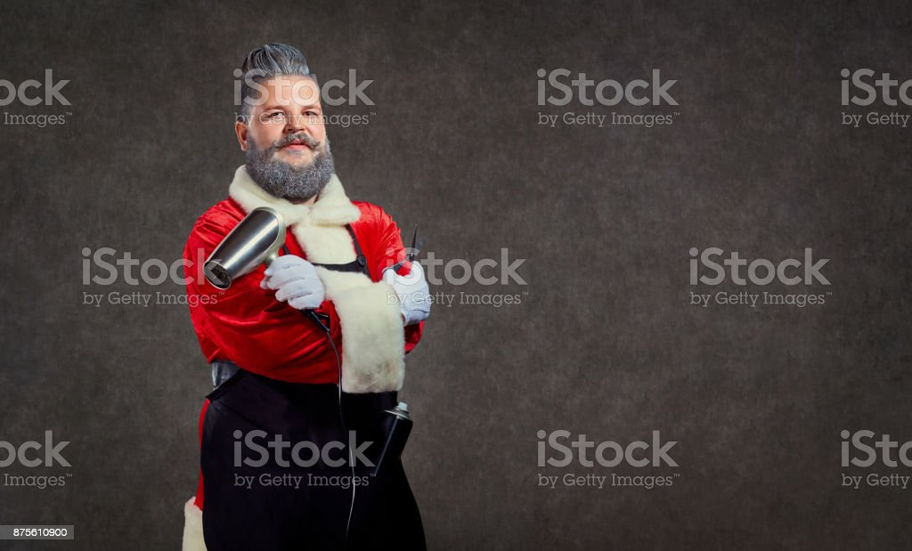 Santa Claus hairdresser barber on the background of copyspace. stock photo