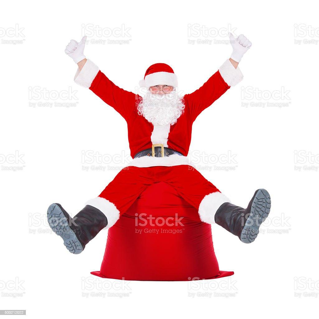 Santa Claus Hands Up Sitting On Big Christmas Presents Bag Stock ...