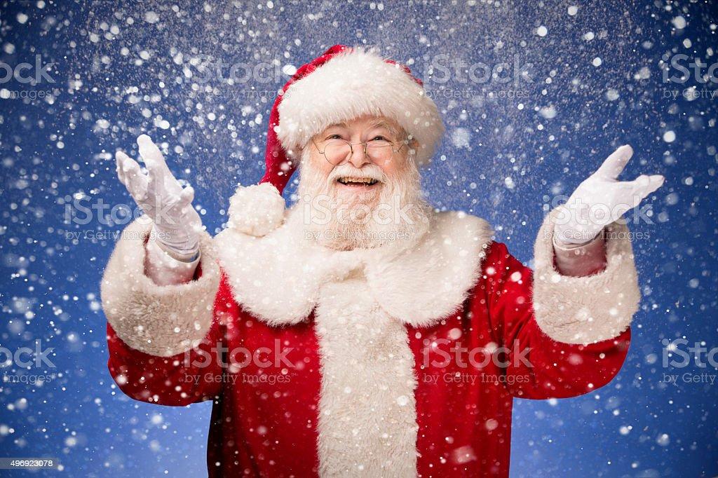 Santa Claus glücklich, dass es schneien – Foto
