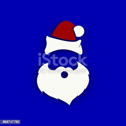 871072052 istock photo Santa Claus hat and beard on blue background. Hipster style. 3D rendering 868747780