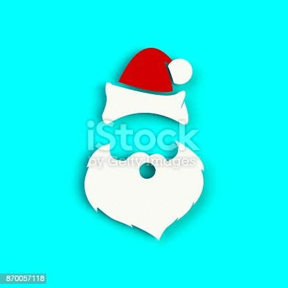 871072052 istock photo Santa Claus hat and beard on blue background. Hipster style. 3D rendering 870057118