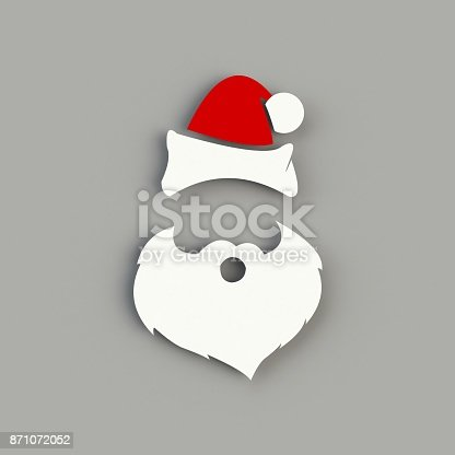 istock Santa Claus hat and beard on gray background. Hipster style. 3D rendering 871072052