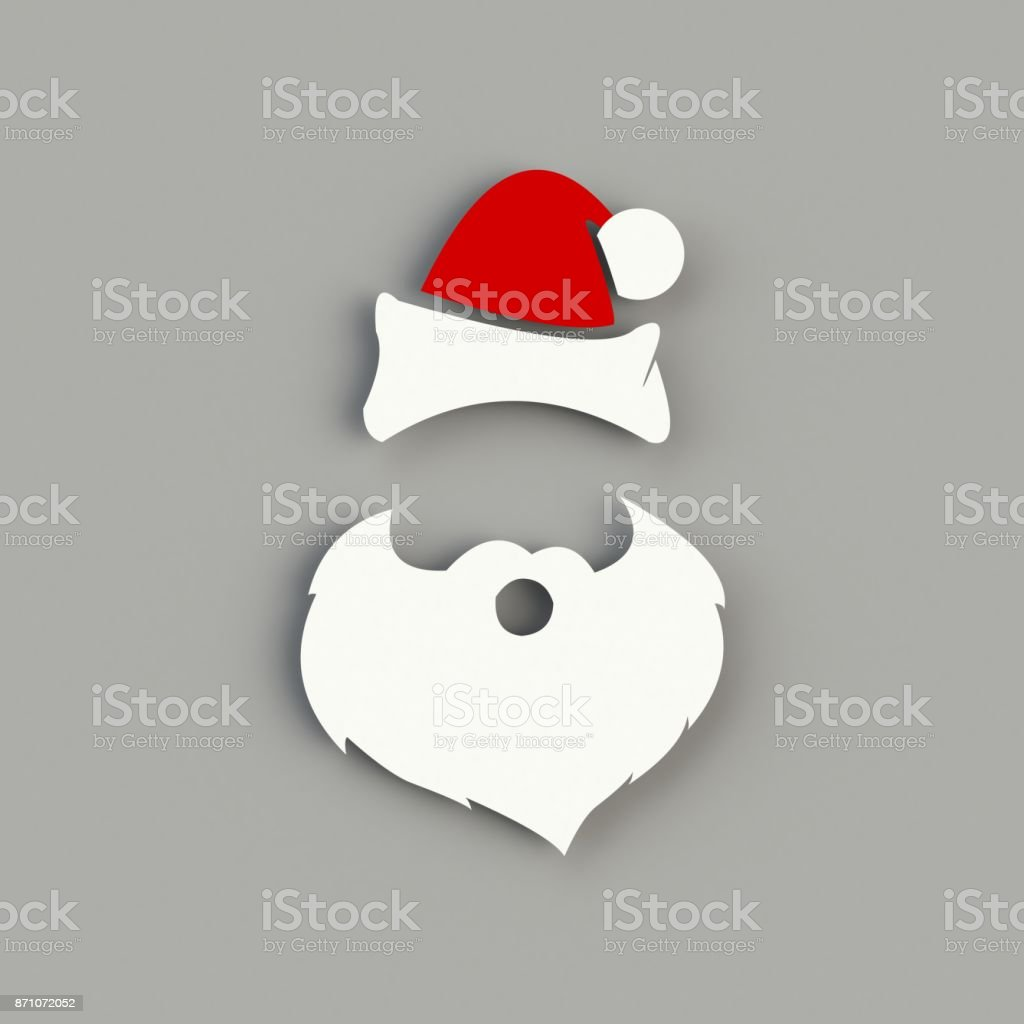 Santa Claus hat and beard on gray background. Hipster style. 3D rendering stock photo