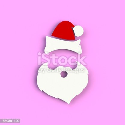 871072052 istock photo Santa Claus hat and beard on pink background. Hipster style. 3D rendering 870381100